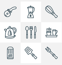 cook icons line style set with blender whisk vector image