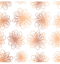 copper foil flowers seamless background vector image