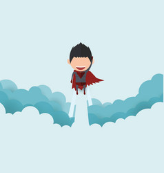 cover report a happy face superhero on skystartup vector image
