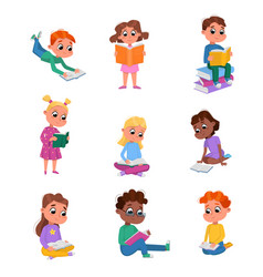 cute kids reading books set preschooler children vector image