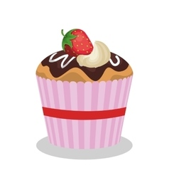 Delicious sweet cupcake birthday vector