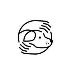 dog care hand hugs logo icon line outline monoline vector image
