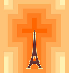 eiffel tower in paris gradient radiant backdrop vector image