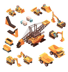 extractive equipment isometric set vector image