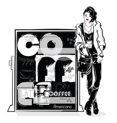 Fashion girl in sketch style with coffee poster vector