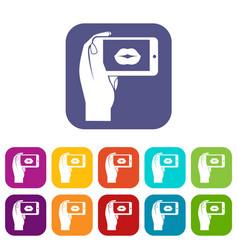 Female hand holding smartphone vector
