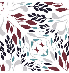 Folk red green and grey leaves on white background vector
