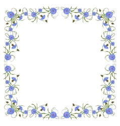 Frame with cornflowers and leaves vector
