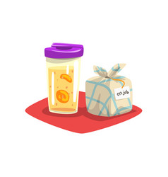 Fruit infuser water bottle with lid and some meal vector