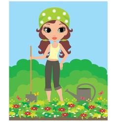 girl the gardener vector image