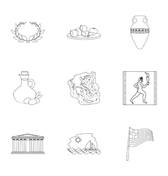 Greece set icons in outline style Big collection vector image