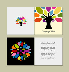 greeting card design with art tree vector image