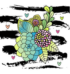 Hand drawn abstract floral bouquet vector
