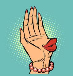 Hand palm kiss lips female vector