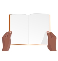 Hands of african american holding a blank book vector