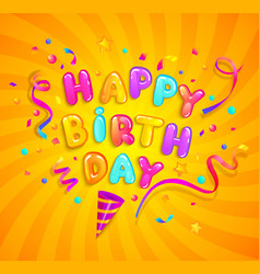 happy birthday greeting banner with cracker vector image