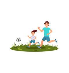 happy father playing football with his daughter on vector image