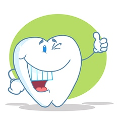 Happy Smiling Tooth Cartoon Character vector image