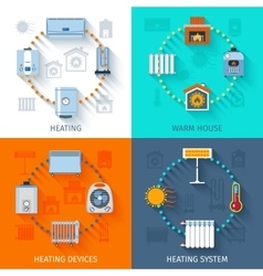Heating system icon set vector