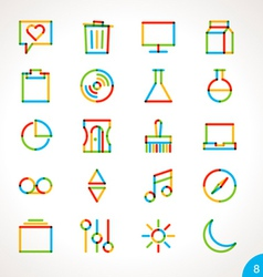 Highlighter Line Icons Set 8 vector image