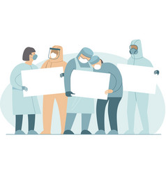 hospital medical staff holding empty boards vector image