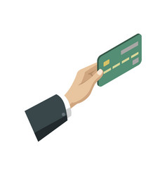 human hand with credit card isometric 3d icon vector image