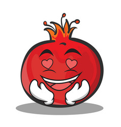 In love pomegranate cartoon character style vector