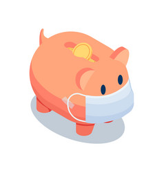 Isometric piggy bank wearing medical face mask vector