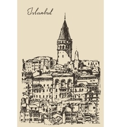 Istanbul Turkey City Architecture Galata Tower vector image