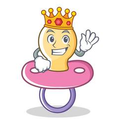 King baby pacifier character cartoon vector