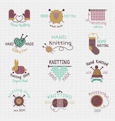 knitting needles logo wool knitwear or vector image