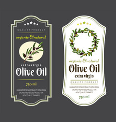 label elements for olive oil elegant dark and vector image