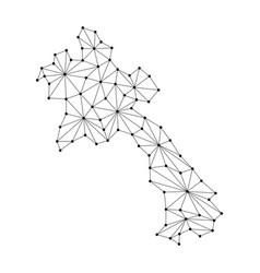 Laos map of polygonal mosaic lines network rays vector