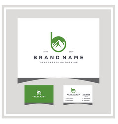 Letter b mountain logo design and business card vector
