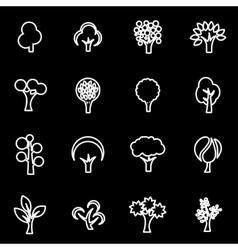 line trees icon set vector image