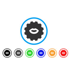 lips smiley gear icon vector image