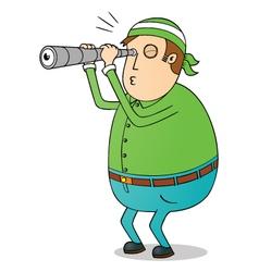 Man using telescope vector