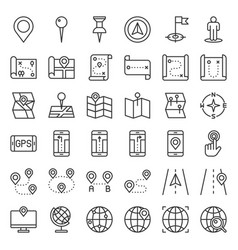 map location pin and navigation outline icon vector image