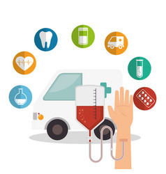 Medical healthcare with set icons vector