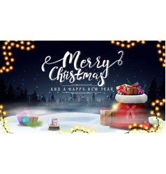 merry christmas and happy new year blue postcard vector image