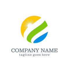 Nature globe sun ecology company logo vector