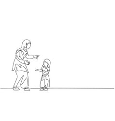 One continuous line drawing young arabian mom vector