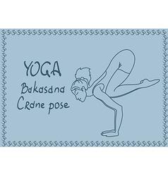 Outline girl in Crane yoga pose vector