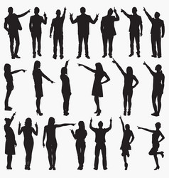 pointing silhouettes vector image
