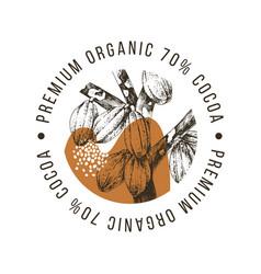 premium organic cocoa label vector image