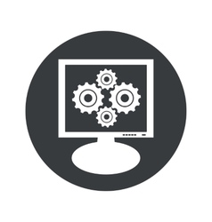 Round gears monitor icon vector