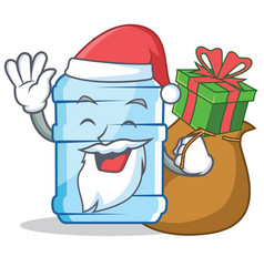 Santa with gift gallon character cartoon style vector