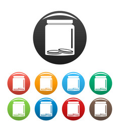 save money icons set color vector image