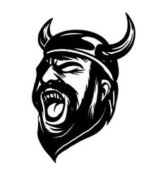 screaming angry viking head vector image