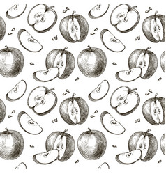 Seamless background of apples vector